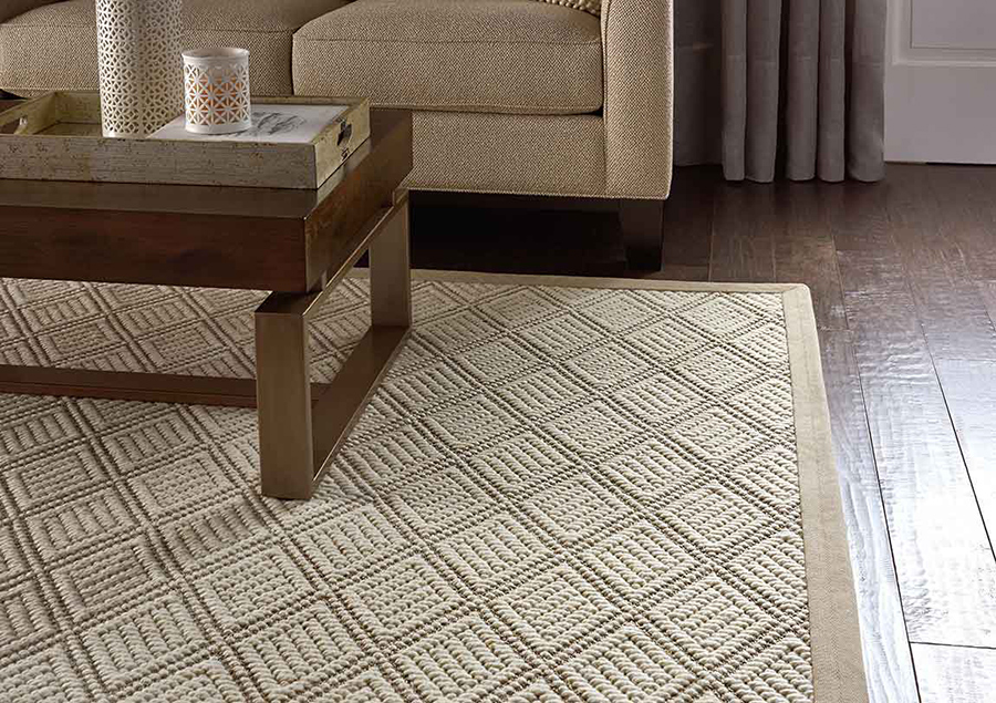 Beige patterned area rug under a coffee table in a living room